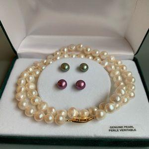 NWOT 2 pair genuine pearl earring 1 necklace set